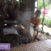 Making rice paper in Mekong with ALO Travel Asia